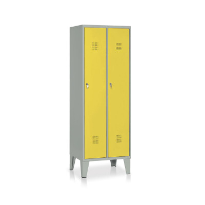 E512GG Locker 2 compartments mm. 610Lx500Dx1800H. Grey/yellow.