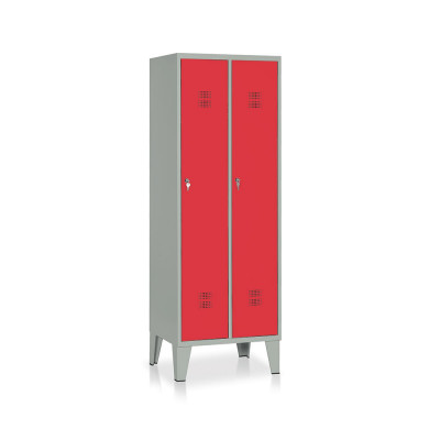 E512GR Locker 2 compartments mm. 610Lx500Dx1800H. Grey/red.