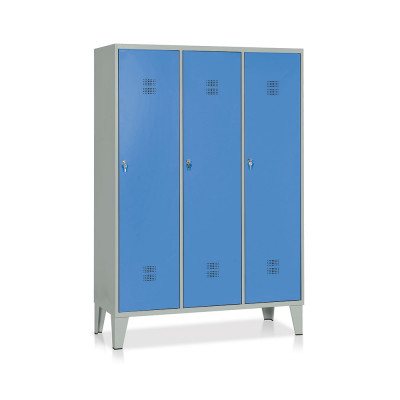 E524GB Locker with 3 compartments with partition mm. 1200Lx500Dx1800H. Grey/blue.