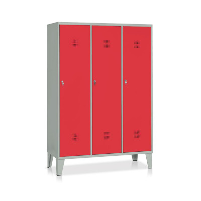 E524GR Locker with 3 compartments with partition mm. 1200Lx500Dx1800H. Grey/red.