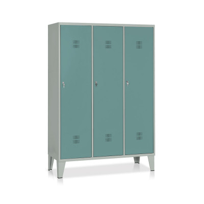 E524GVS Locker with 3 compartments with partition mm. 1200Lx500Dx1800H. Grey/dark green.