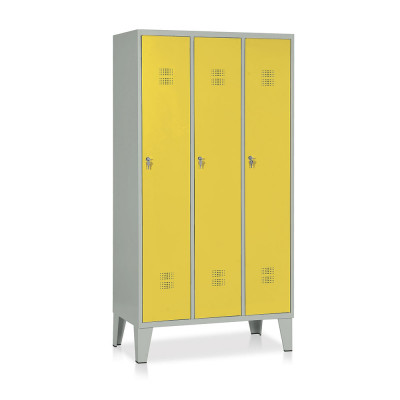 E514GG Locker 3 compartments mm. 905Lx500Dx1800H. Grey/yellow.