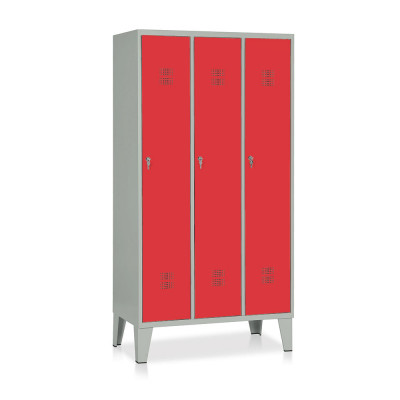 E514GR Locker 3 compartments mm. 905Lx500Dx1800H. Grey/red.