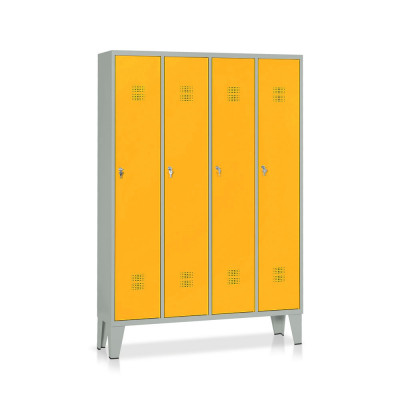 E506GG Locker 4 compartments mm. 1200Lx330Dx1800H. Grey/yellow.