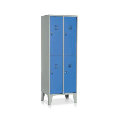 E542GB Armadio spogliatoio 4 vani mm. 610Lx500Px1800H. Grigio/blu.