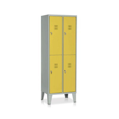 E542GG Locker 4 compartments mm. 610Lx500Dx1800H. Grey/yellow
