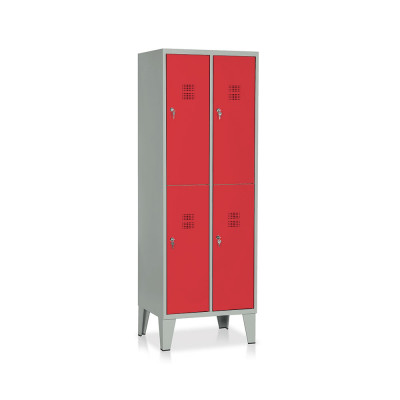 E542GR Locker 4 compartments mm. 610Lx500Dx1800H. Grey/red.