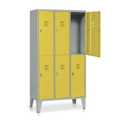 E544GG Locker 6 compartments mm. 905Lx500Dx1800H. Grey/yellow.