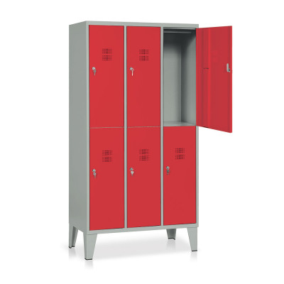E544GR Locker 6 compartments mm. 905Lx500Dx1800H. Grey/red.