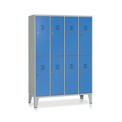 E546GB Armadio spogliatoio 8 vani mm. 1200Lx500Px1800H. Grigio/blu.