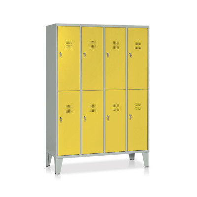E546GG Locker 8 compartments mm. 1200Lx500Dx1800H. Grey/yellow.