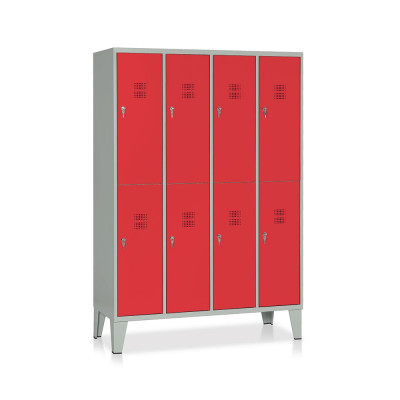 E546GR Locker 8 compartments mm. 1200Lx500Dx1800H. Grey/red.