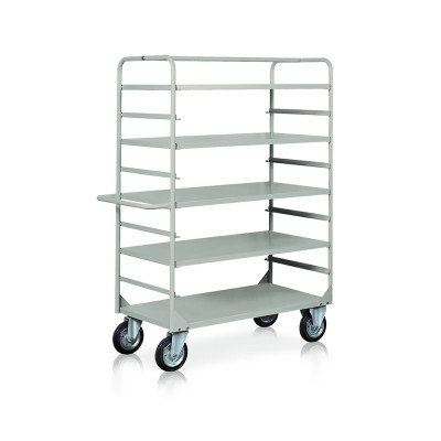 Trolley 4 removable shelves mm. 1320Lx660Dx1770H. Grey.