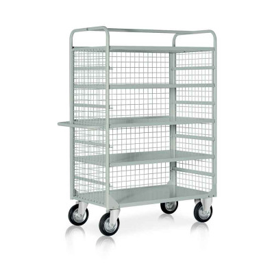 Trolley 4 extractable shelves and mesh mm. 1320Lx660Dx1770H. Grey.